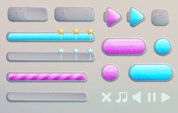 Ξύλινα κουμπιά σχεδίου παιχνιδιών κινούμενων σχεδίων και app Στοκ φωτογραφία με δικαίωμα ελεύθερης χρήσης