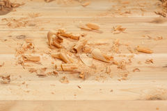 Ξύλινα ξέσματα στις σανίδες Στοκ Φωτογραφία