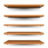 Ξύλινα ράφια καθορισμένα Στοκ εικόνα με δικαίωμα ελεύθερης χρήσης