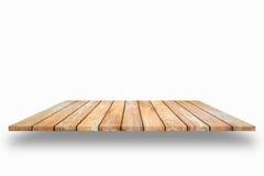 Ξύλινα ράφια σανίδων και άσπρο υπόβαθρο Για την επίδειξη προϊόντων, Γ Στοκ Εικόνες
