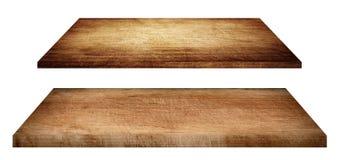 Ξύλινα ράφια, tabletop ή τέμνων πίνακας που απομονώνονται στο λευκό Στοκ Φωτογραφία