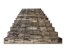 ξύλινα σκαλοπάτια σε ένα λευκό Στοκ Φωτογραφία