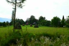 Ξύλινα σπίτια στα βουνά Στοκ Εικόνες