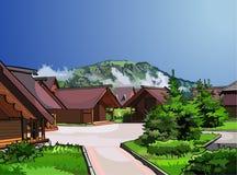 Ξύλινα σπίτια τοπίων σε ένα υπόβαθρο των βουνών Στοκ Φωτογραφία