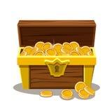 Ξύλινα στήθος και νόμισμα θησαυρών Στοκ Φωτογραφία