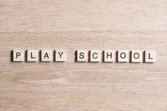 Ξύλινα στοιχεία με συλλεχθε'ν το επιστολή playschool λέξης Στοκ φωτογραφίες με δικαίωμα ελεύθερης χρήσης