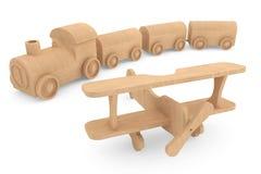 Ξύλινα τραίνο και αεροπλάνο παιχνιδιών παιδιών Στοκ εικόνα με δικαίωμα ελεύθερης χρήσης