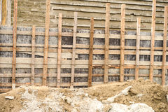 Ξύλινα υλικά σκαλωσιάς για την επισκευή του σταδίου Στοκ Εικόνες