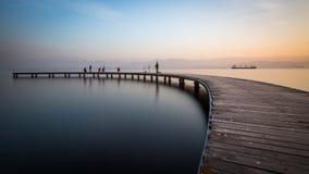 Ξύλινα υλικά σκαλωσιάς Seka ηλιοβασιλέματος Στοκ Εικόνες