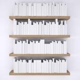 Ξύλινα shelfs με τα βιβλία στο άσπρο υπόβαθρο τοίχων απεικόνιση αποθεμάτων
