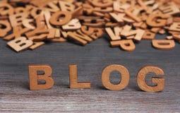 Ξύλινες επιστολές λέξης Blog Στοκ Φωτογραφία