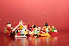 Ξύλινες διακοσμήσεις Χριστουγέννων Στοκ Φωτογραφία