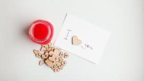 Ξύλινες καρδιές, μαρμελάδα Στοκ Φωτογραφία