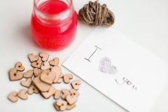 Ξύλινες καρδιές, μαρμελάδα Στοκ Εικόνες