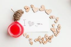 Ξύλινες καρδιές, μαρμελάδα Στοκ φωτογραφίες με δικαίωμα ελεύθερης χρήσης