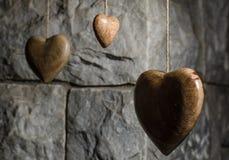 Ξύλινες καρδιές στοκ εικόνες με δικαίωμα ελεύθερης χρήσης