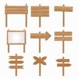Ξύλινες πινακίδες, ξύλινο διανυσματικό σύνολο σημαδιών βελών Στοκ Εικόνα