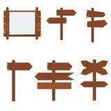 Ξύλινες πινακίδες, ξύλινο σύνολο σημαδιών βελών Στοκ Εικόνες