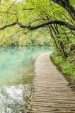 Ξύλινες πορεία και λίμνες στο πάρκο λιμνών Plitvicka Στοκ φωτογραφία με δικαίωμα ελεύθερης χρήσης