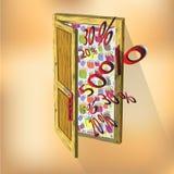 Ξύλινες πόρτα και πώληση Στοκ Φωτογραφίες