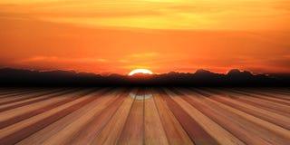 Ξύλινες σανίδες στο υπόβαθρο ηλιοβασιλέματος τρισδιάστατη απεικόνιση ελεύθερη απεικόνιση δικαιώματος