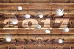 Ξύλινες χιονιές πινάκων 2017 Στοκ εικόνες με δικαίωμα ελεύθερης χρήσης