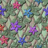 Ξύλινη άνευ ραφής σύσταση με τα τρισδιάστατα λουλούδια Στοκ Φωτογραφίες