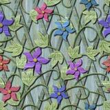 Ξύλινη άνευ ραφής σύσταση με τα τρισδιάστατα λουλούδια Στοκ Εικόνες