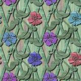 Ξύλινη άνευ ραφής σύσταση με τα τρισδιάστατα λουλούδια Στοκ εικόνες με δικαίωμα ελεύθερης χρήσης