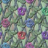Ξύλινη άνευ ραφής σύσταση με τα τρισδιάστατα λουλούδια Στοκ φωτογραφίες με δικαίωμα ελεύθερης χρήσης