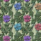 Ξύλινη άνευ ραφής σύσταση με τα τρισδιάστατα λουλούδια Στοκ φωτογραφία με δικαίωμα ελεύθερης χρήσης