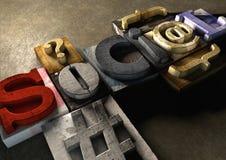 Ξύλινη λέξη μορφής φραγμών εκτύπωσης «κοινωνική» Στοκ φωτογραφίες με δικαίωμα ελεύθερης χρήσης