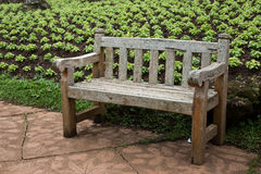 Ξύλινη έδρα στον κήπο Στοκ Φωτογραφίες