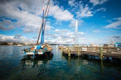 Ξύλινη βάρκα με αεριωθούμενο D'eau στη Γενεύη, Ελβετία Στοκ εικόνες με δικαίωμα ελεύθερης χρήσης