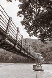 Ξύλινη γέφυρα καλωδίων Στοκ Εικόνες