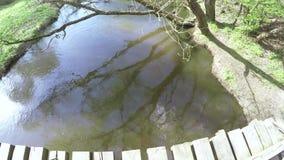 Ξύλινη γέφυρα σε έναν μικρό ποταμό φιλμ μικρού μήκους