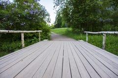 Ξύλινη γέφυρα σε ένα πάρκο των ανθίζοντας πασχαλιών Στοκ φωτογραφίες με δικαίωμα ελεύθερης χρήσης