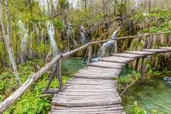 Ξύλινη γέφυρα στο εθνικό πάρκο Plitvice, Κροατία Στοκ φωτογραφίες με δικαίωμα ελεύθερης χρήσης