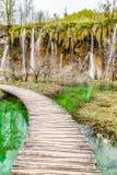 Ξύλινη γέφυρα στο εθνικό πάρκο Plitvice, Κροατία Στοκ φωτογραφία με δικαίωμα ελεύθερης χρήσης