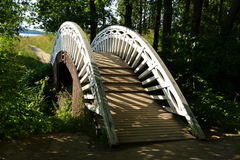 Ξύλινη γέφυρα στο πάρκο Monrepos Στοκ εικόνα με δικαίωμα ελεύθερης χρήσης