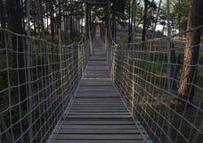 Ξύλινη γέφυρα σχοινιών Στοκ εικόνα με δικαίωμα ελεύθερης χρήσης