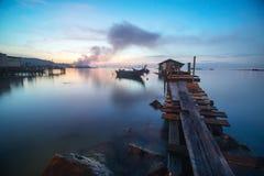 Ξύλινη γέφυρα ψαράδων της Μαλαισίας Στοκ Εικόνες