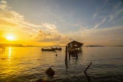Ξύλινη γέφυρα ψαράδων της Μαλαισίας Στοκ Φωτογραφία