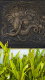 Ξύλινη γλυπτική, Ταϊλάνδη εικόνα ελεφάντων Στοκ φωτογραφία με δικαίωμα ελεύθερης χρήσης