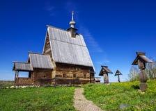 Ξύλινη εκκλησία της αναζοωγόνησης Χριστού στο υποστήριγμα του Levi Στοκ Εικόνες