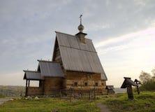 Ξύλινη εκκλησία της αναζοωγόνησης (Voskresenskaya) (1699) στο βουνό Levitan Ples Στοκ εικόνα με δικαίωμα ελεύθερης χρήσης