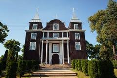 Ξύλινη εκκλησία της θείας πρόνοιας σε Antazave, Zarasai dist Στοκ Εικόνες