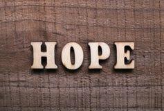 Ξύλινη ελπίδα κειμένων στοκ εικόνες με δικαίωμα ελεύθερης χρήσης