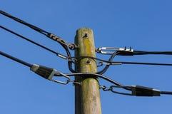 Ξύλινη θέση ηλεκτρικής ενέργειας ενάντια στο μπλε ουρανό στοκ φωτογραφίες