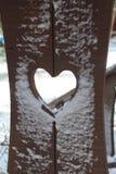 Ξύλινη θέση με μια καρδιά μέσα στοκ φωτογραφία με δικαίωμα ελεύθερης χρήσης